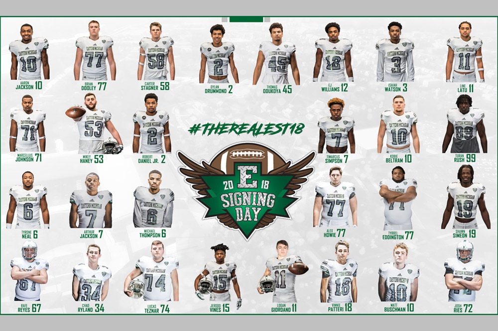 EMU Football Adds 12 Student-Athletes to 2018 Class